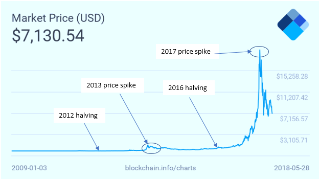 BTC price / halvening graph