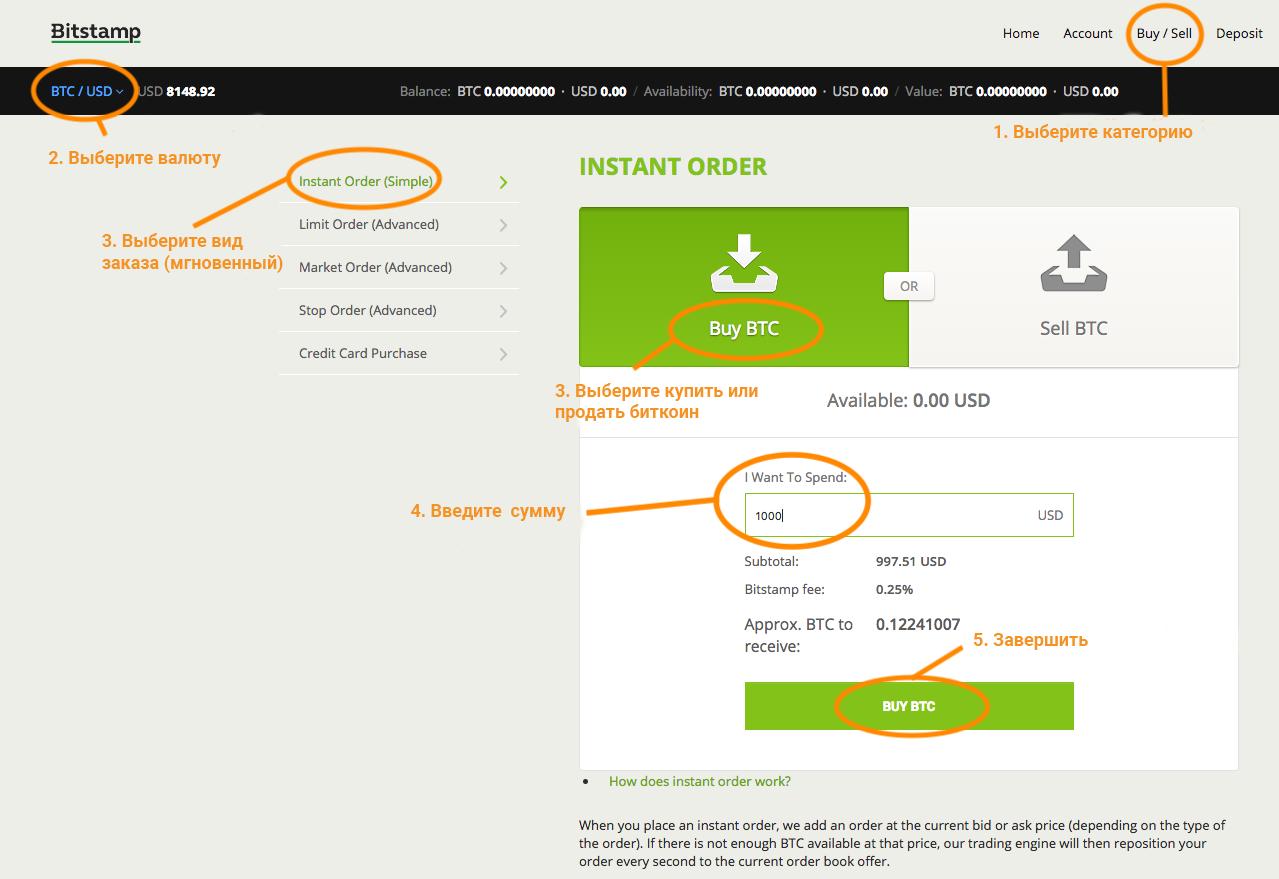 Покупка биткоинов на сайте Bitstamp