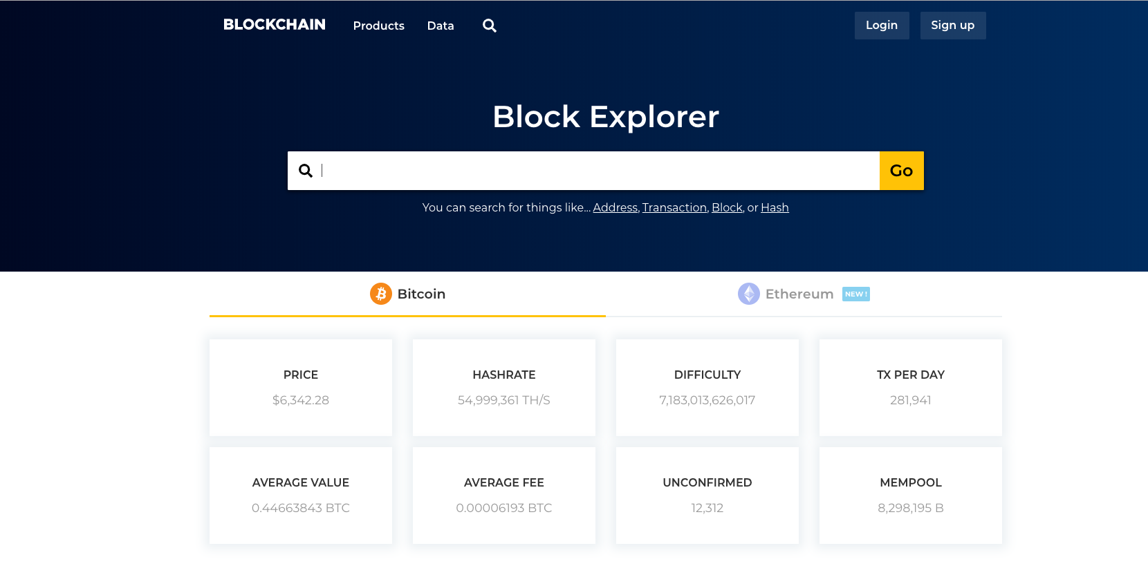Blockchain.com's block explorer home