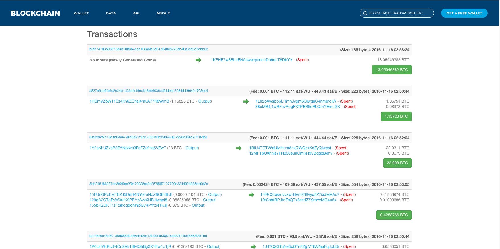 Blockchain block transactions