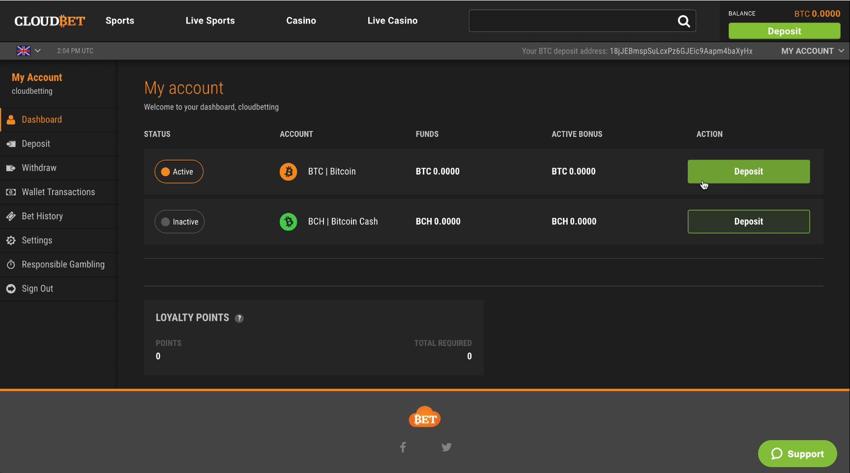 Cloudbet Dashboard