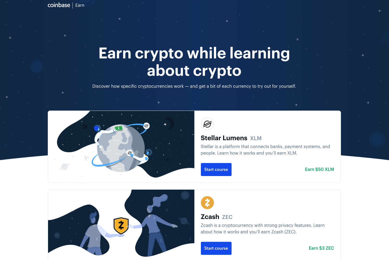 Coinbase Earn platform