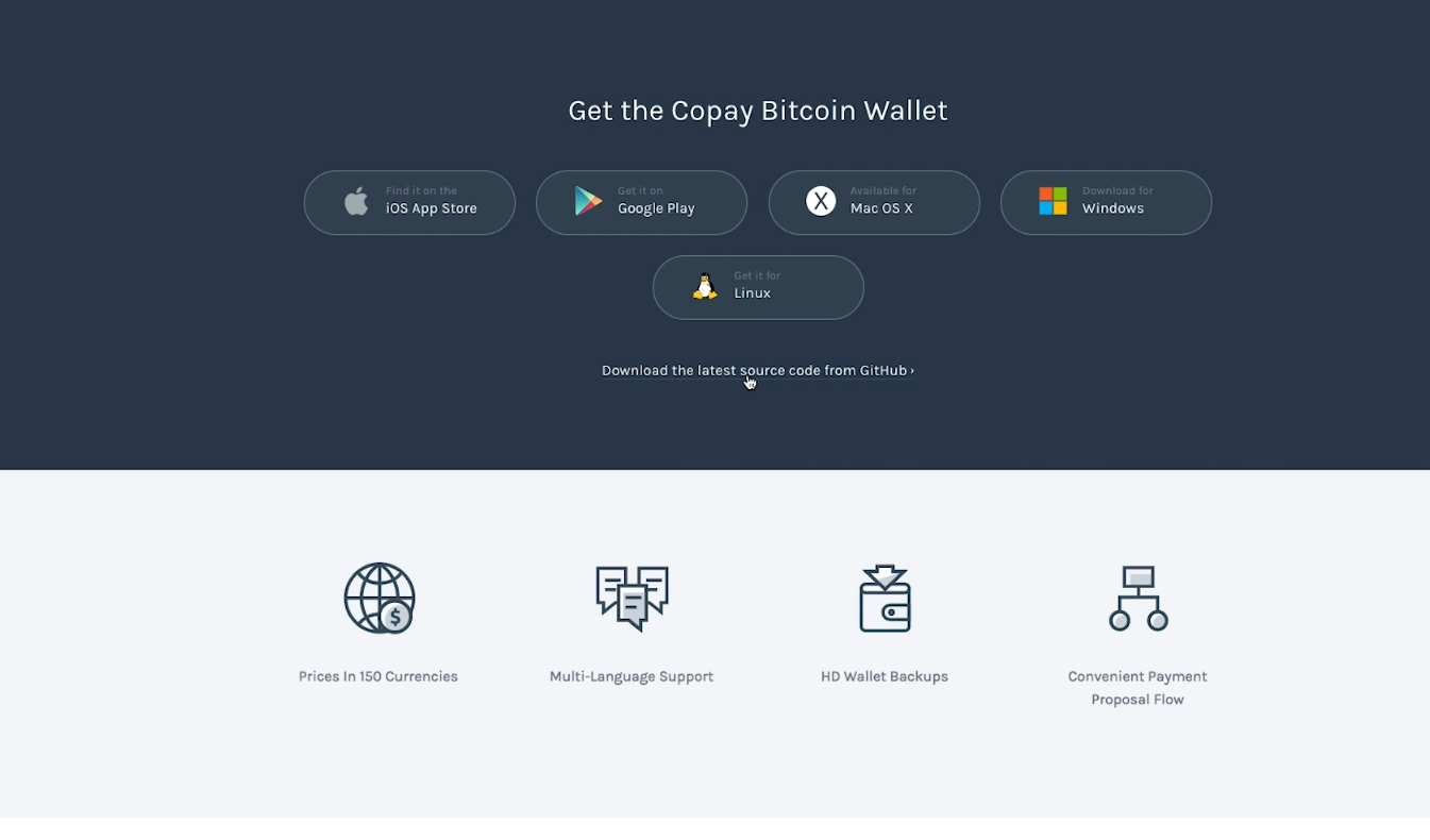 Copay wallet home page screenshot