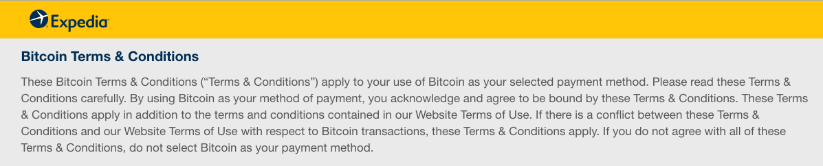 Expedia Bitcoin terms and conditions