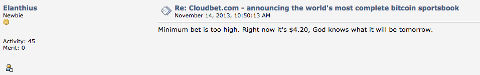 BitcoinTalk Cloudbet Limits