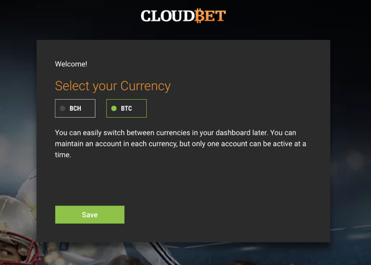 Cloudbet: choose between bitcoin and bitcoin cash