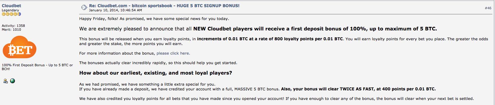 BitcoinTalk Cloudbet Loyalty Scheme