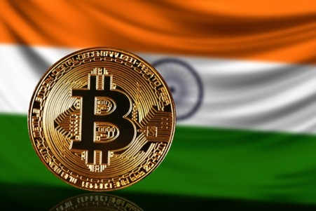 Bitcoin over the Indian flag