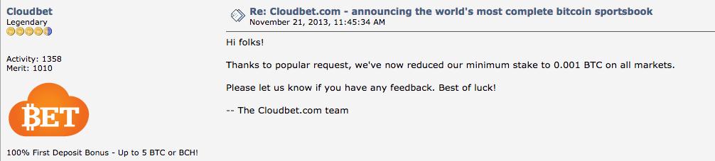 BitcoinTalk Cloudbet Minimum Stakes