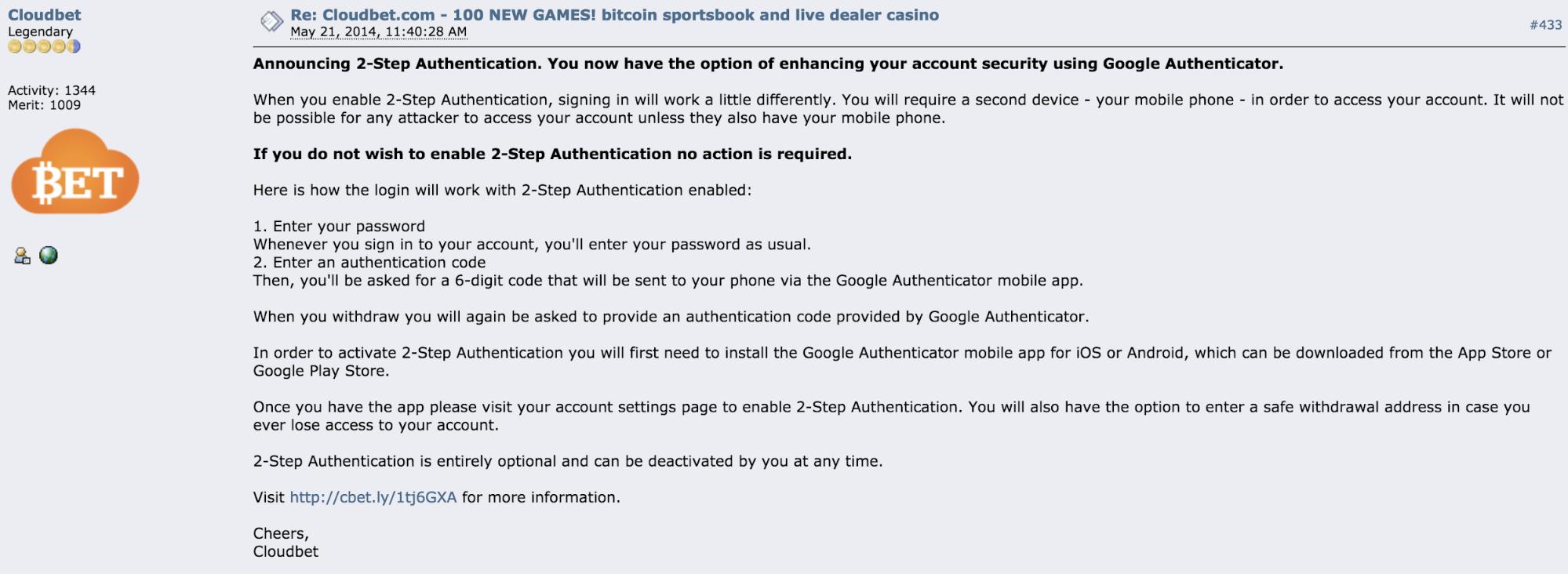 Bitcoin Talk Cloudbet 2FA