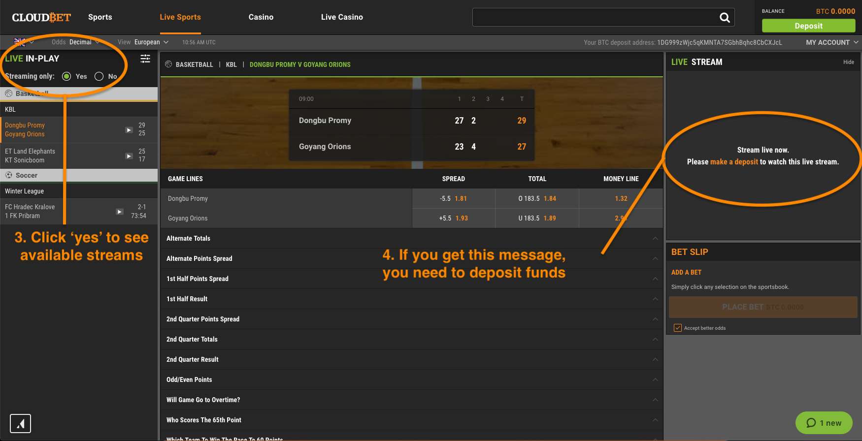 Step 2: click under Live In-Play and check available streams